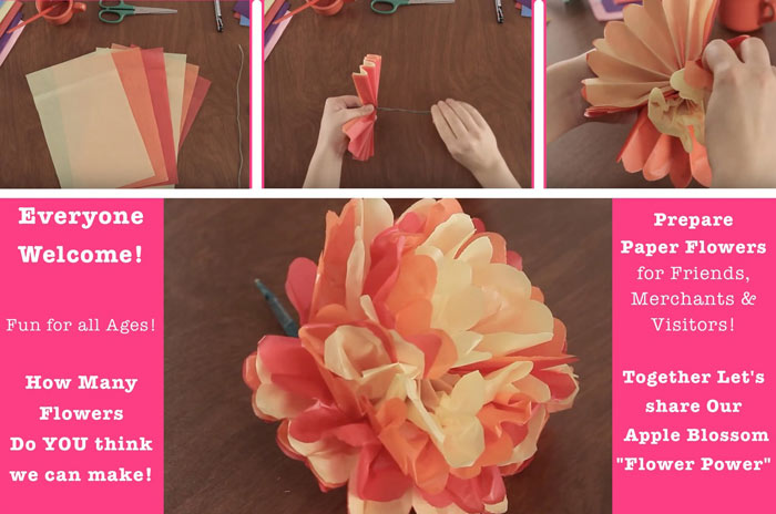 Tissue paper flower making for apple blossom parade whats bring friends and enjoy creating tissue flowers in preparation for the apple blossom parade you may take them home for the parade day or add to our barrels mightylinksfo